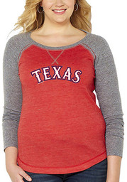 Texas Rangers Womens Official Jersey Red Plus Size T-Shirt