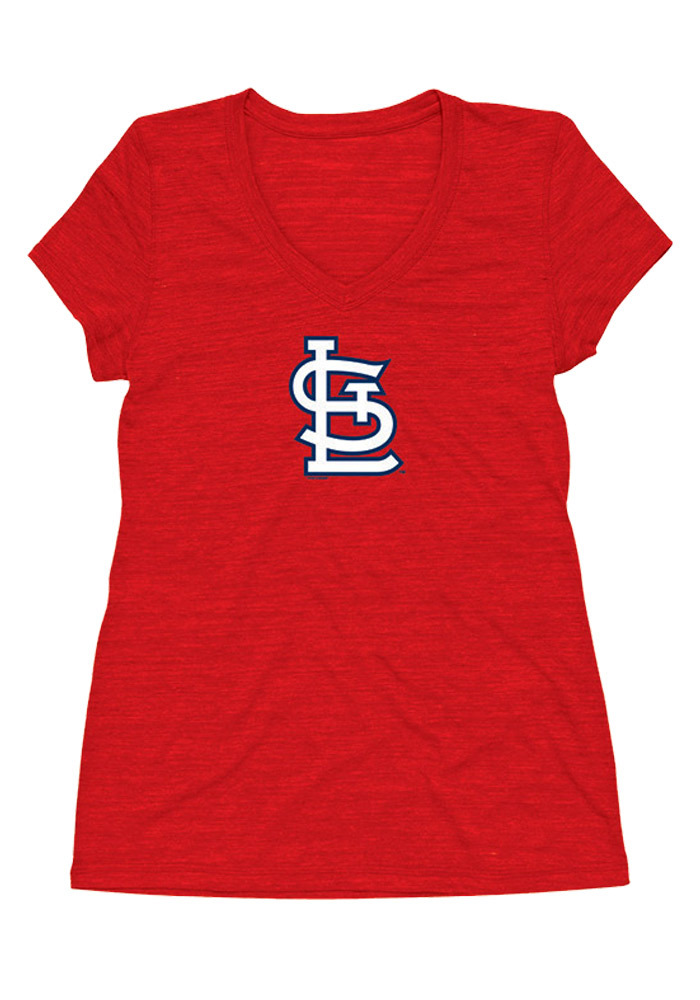 St Louis Cardinals Womens Red Official Cap Short Sleeve Plus Tee - Image 1