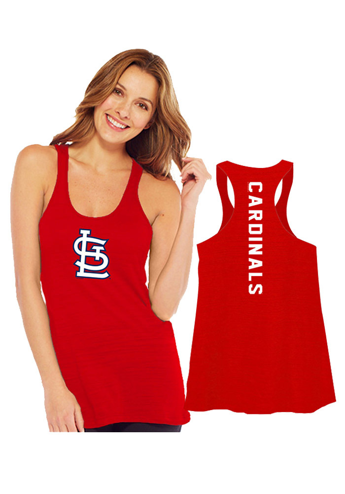 St Louis Cardinals Womens Red Multi Count Racerback Tank Top - Image 1
