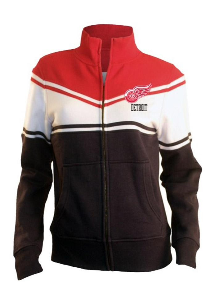 Detroit Red Wings Womens Red Heather Long Sleeve Track Jacket - Image 1