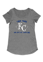Kansas City Royals Womens Grey Two Fans are Better Maternity Tee