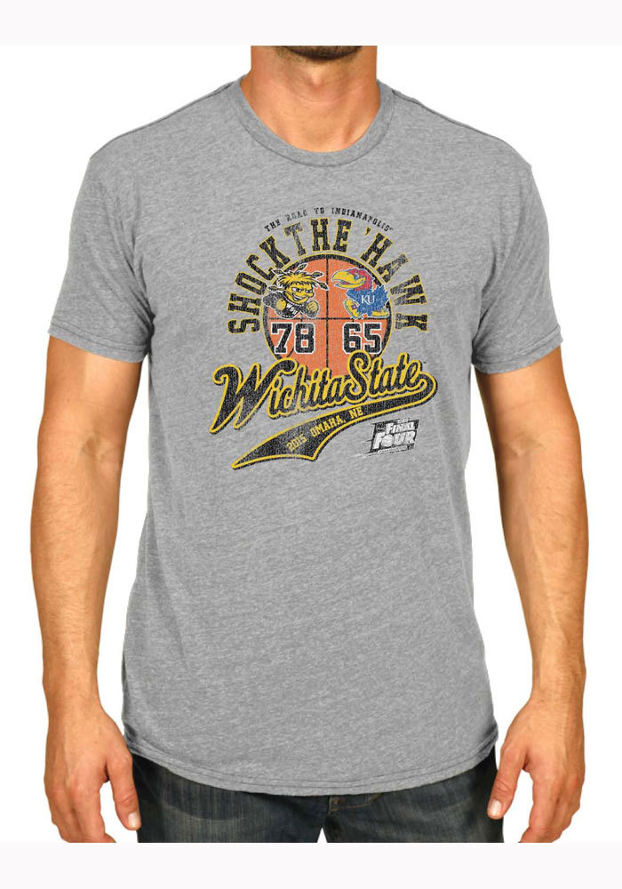 Wichita State Shockers Grey Shock the Hawk Short Sleeve Fashion T Shirt - Image 1