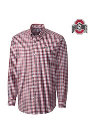 Cutter and Buck The Ohio State University Mens Red Grant Plaid Dress Shirt