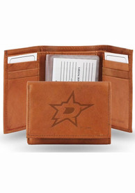 Dallas Stars Embossed Leather Trifold Wallet - Brown