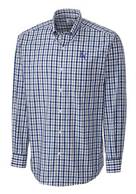 Kansas City Royals Cutter and Buck Grant Plaid Dress Shirt - Blue