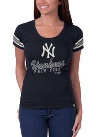 47 New York Yankees Womens Off Campus Scoop Navy Blue Scoop T-Shirt
