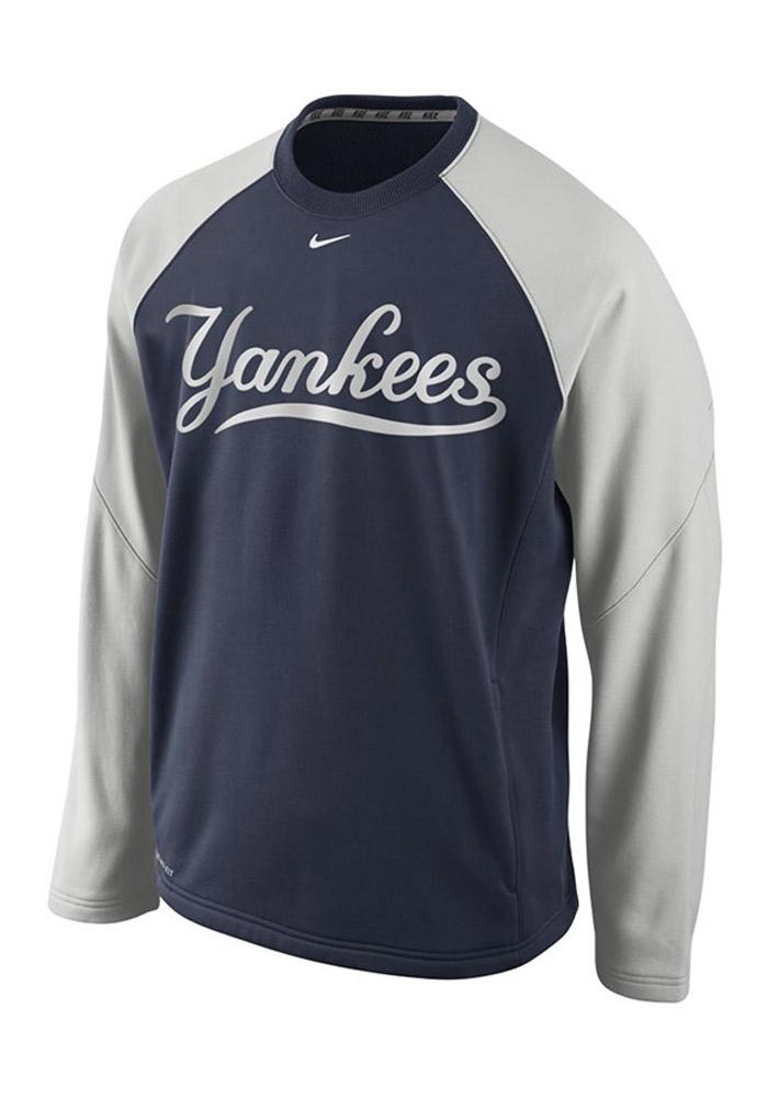 Nike NY Yankees Mens Navy Blue Therma Fit Crew 14 Performance Sweatshirt 12515232