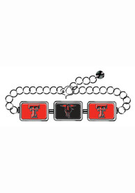 Texas Tech Red Raiders Womens 3 Rectangle Charm Bracelet - Red