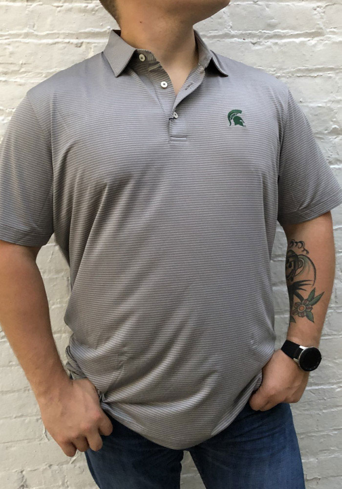 Michigan State Spartans Mens Charcoal Albatross Short Sleeve Polo - Image 2