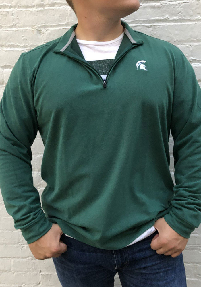 Michigan State Spartans Mens Green Brady Long Sleeve 1/4 Zip Pullover - Image 2
