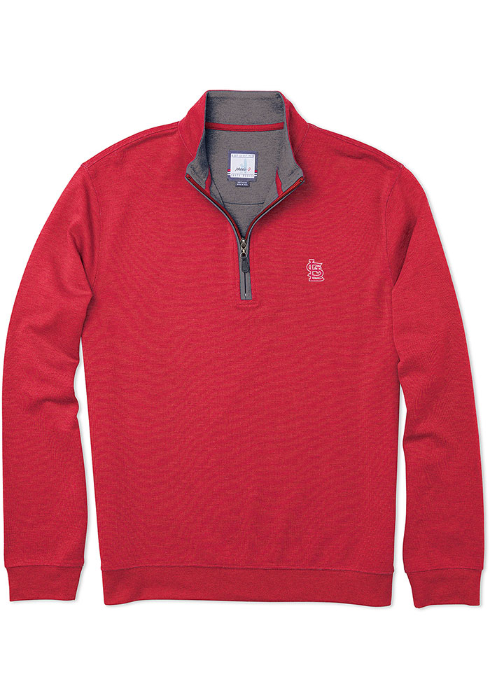 St Louis Cardinals Mens Red Sully Long Sleeve 1/4 Zip Pullover - Image 1
