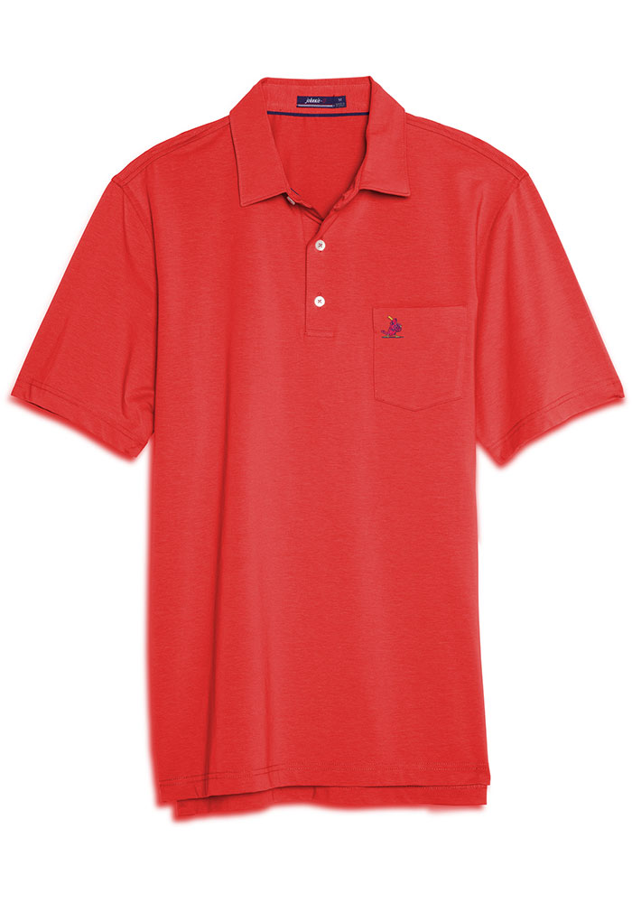 St Louis Cardinals Mens Red Harvey Short Sleeve Polo - Image 1