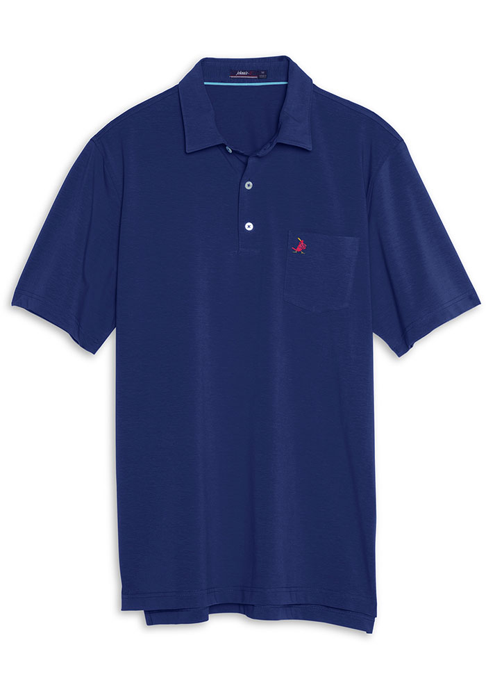 St Louis Cardinals Mens Navy Blue Harvey Short Sleeve Polo - Image 1