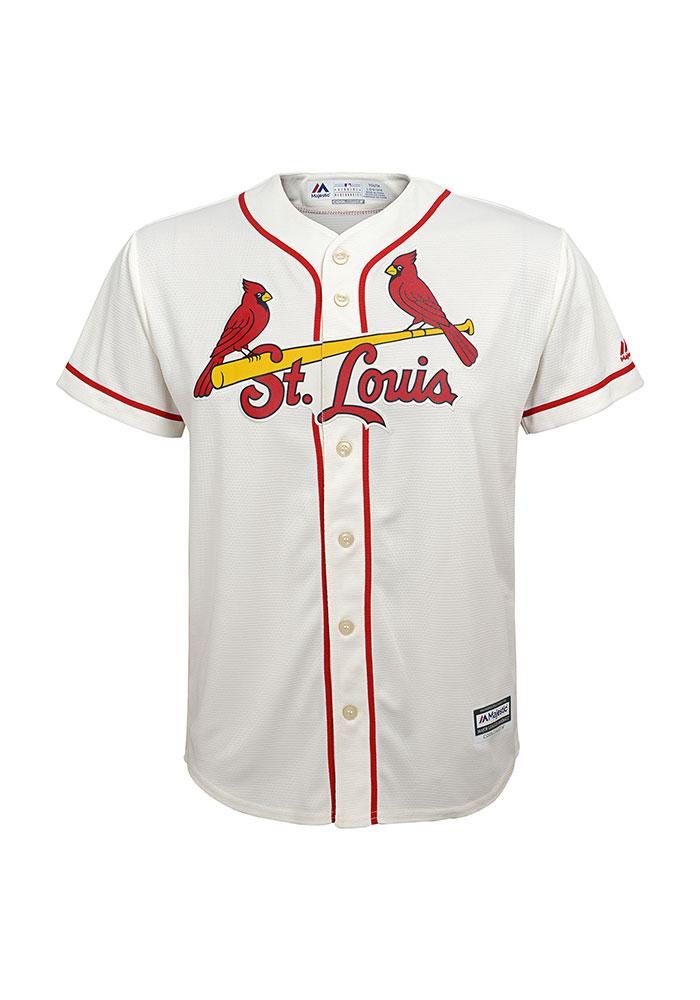 St Louis Cardinals Kids Ivory Youth Cool Base Replica Jersey - Image 1