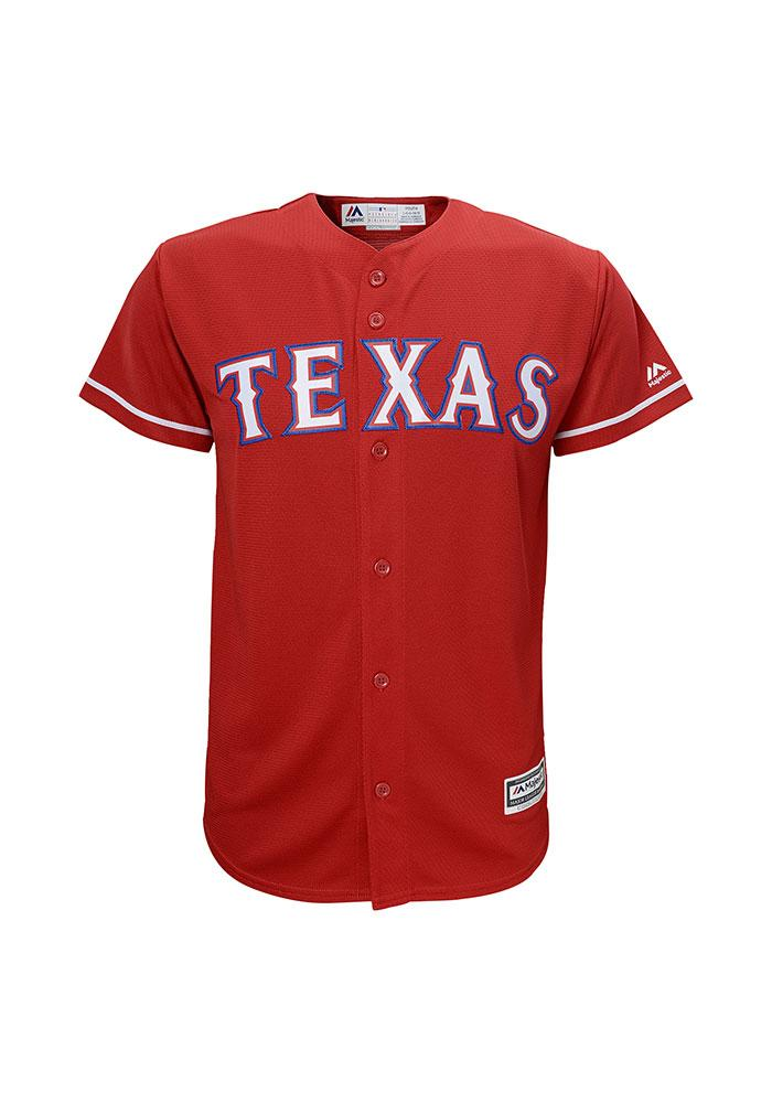 Texas Rangers Boys Red Cool Base Replica Baseball Jersey - Image 1