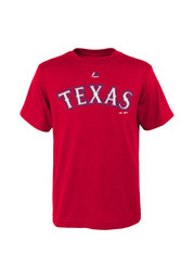 Texas Rangers Youth Red Youth HD Official Wordmark T-Shirt