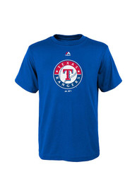 Texas Rangers Youth Blue Youth Primary Logo T-Shirt