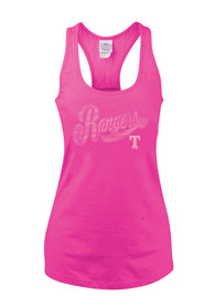 Texas Rangers Womens Pink Lace Tank Top