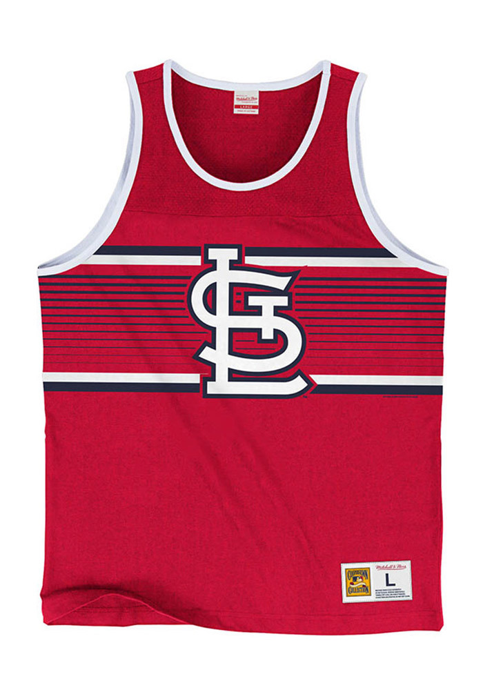 Mitchell and Ness St Louis Cardinals Mens Red Surprise Win Short Sleeve Tank Top - Image 1