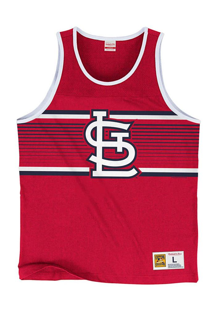 Mitchell and Ness St Louis Cardinals Mens Red Surprise Win Short Sleeve Tank Top - Image 2