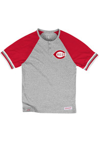 Mitchell and Ness Cincinnati Gray Visitin Team Henley Fashion Tee