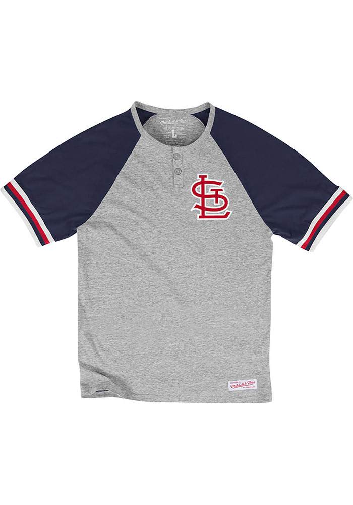 Mitchell and Ness St Louis Cardinals Grey Visiting Team Short Sleeve Fashion T Shirt - Image 1