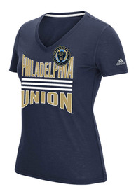 Adidas Philadelphia Union Womens Middle Stripes Navy Blue Short Sleeve Tee