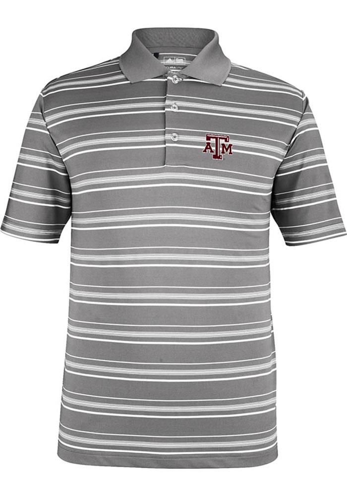 Adidas Texas A&M Aggies Mens Grey Puremotion Short Sleeve Polo - Image 1