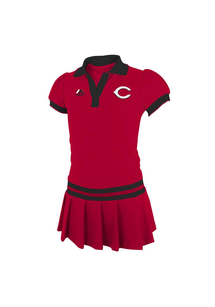 Cincinnati Reds Girls Red Girls Polo Short Sleeve Dress - Image 1