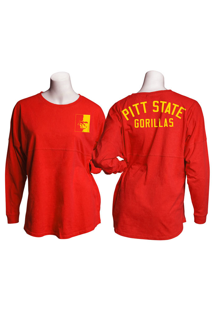 Pitt State Gorillas Womens Red Game Day Jersey LS Tee - Image 1