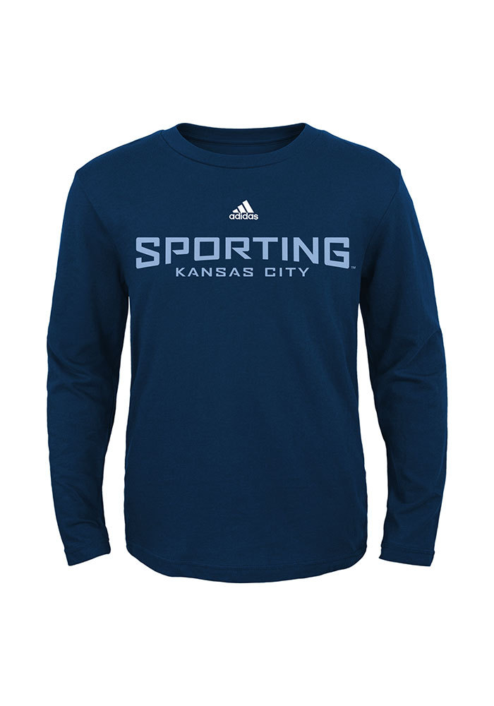 Sporting Kansas City Boys Navy Blue Wordmark Long Sleeve T-Shirt - Image 1