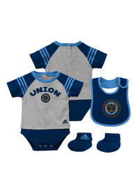 Philadelphia Union Baby Navy Blue Little Kicker One Piece with Bib