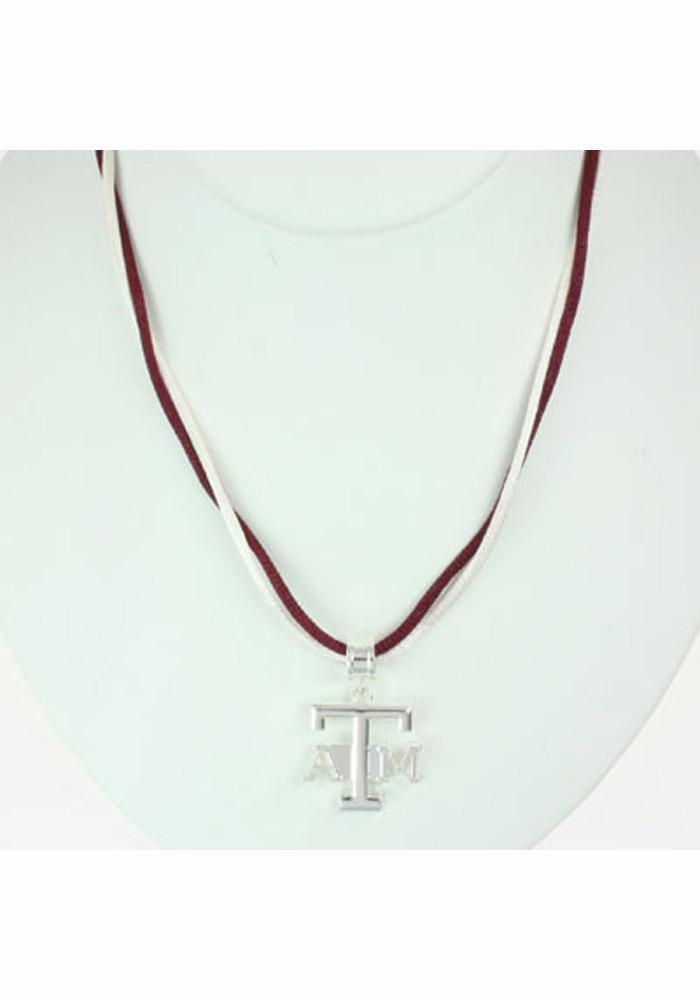 Texas A&M Aggies Womens Double Satin Cord Necklace - Silver
