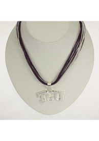 TCU Horned Frogs Womens Multi Cord Necklace - Silver