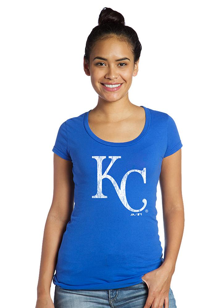 Kansas City Royals Womens Blue Mothers Day Scoop T-Shirt - Image 1