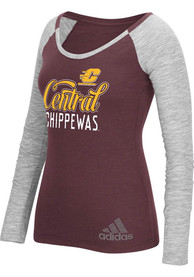 Adidas Central Michigan Chippewas Womens Maroon Tailsweep Bling T-Shirt