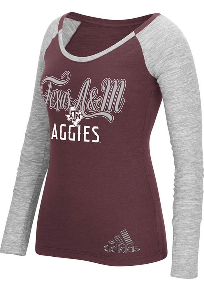 Adidas Texas A&M Aggies Womens Maroon Tailsweep Bling Long Sleeve T-Shirt - Image 1