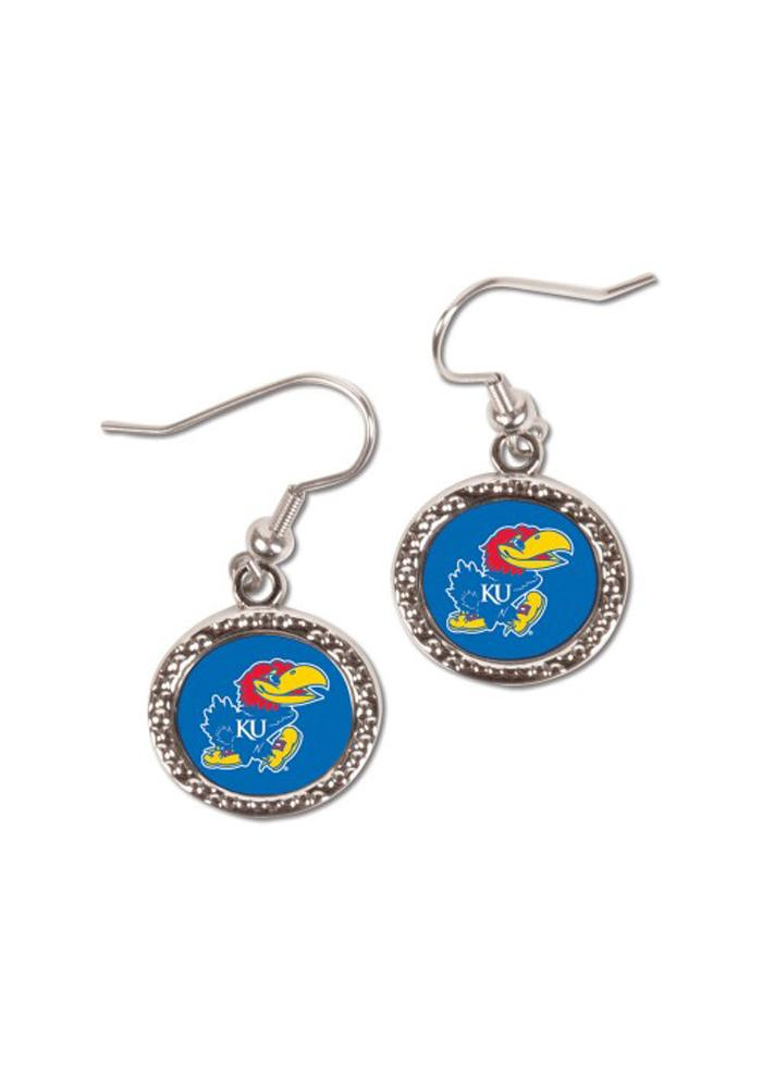 Kansas Jayhawks Womens Round Team Logo Earrings - Blue