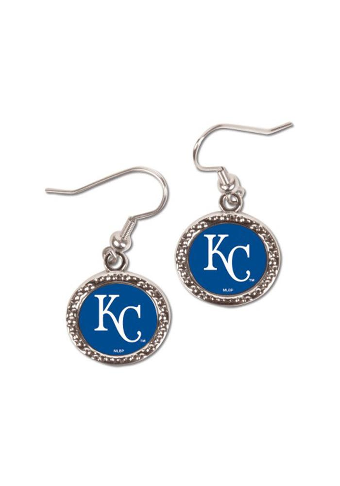 Kansas City Royals Womens Round Team Logo Earrings - Blue