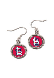 St Louis Cardinals Womens Round Team Logo Earrings - Red