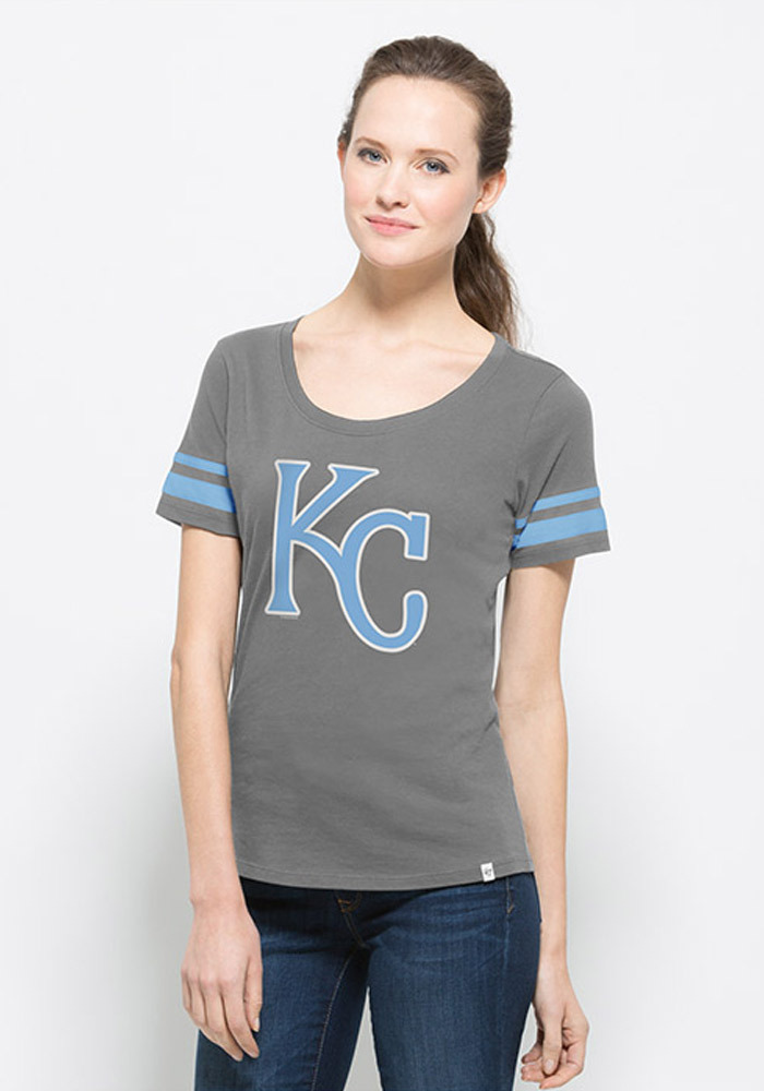 '47 Kansas City Royals Womens Grey Halfback Scoop Scoop T-Shirt - Image 1