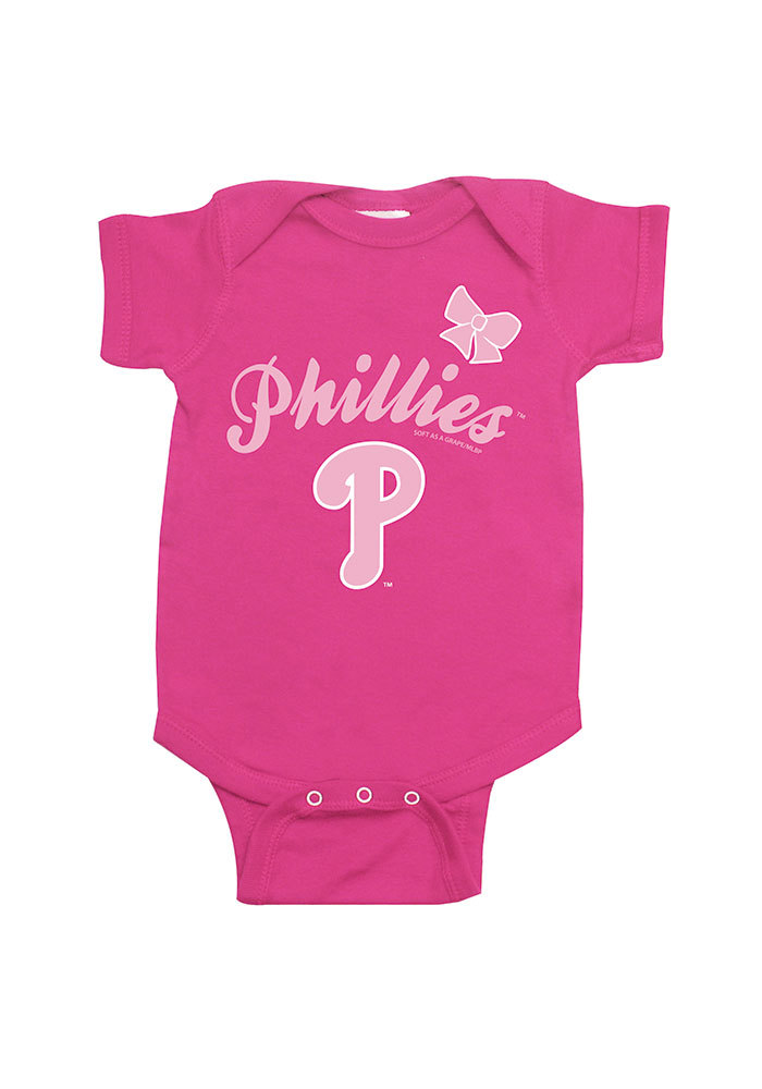 new styles b2f2b b2d82 Philadelphia Phillies Baby Pink Infant Girls Bow Short Sleeve One Piece