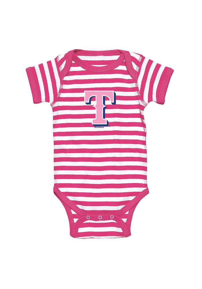 Texas Rangers Baby Pink Infant Girl Striped Short Sleeve One Piece - Image 1