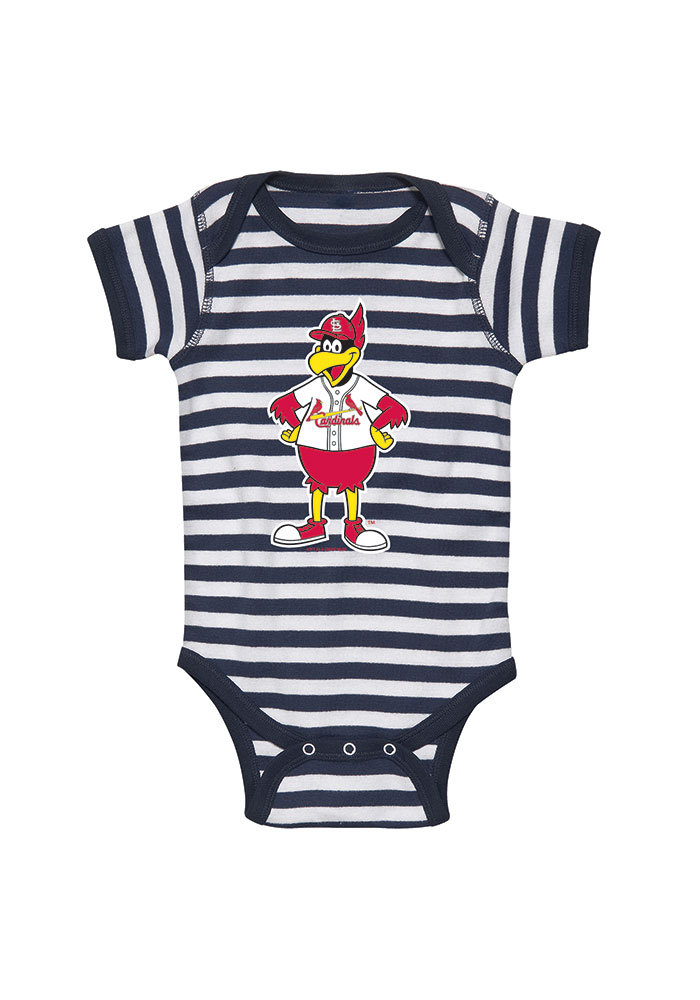 St Louis Cardinals Baby Navy Blue Infant Baby Mascot Short Sleeve One Piece - Image 1
