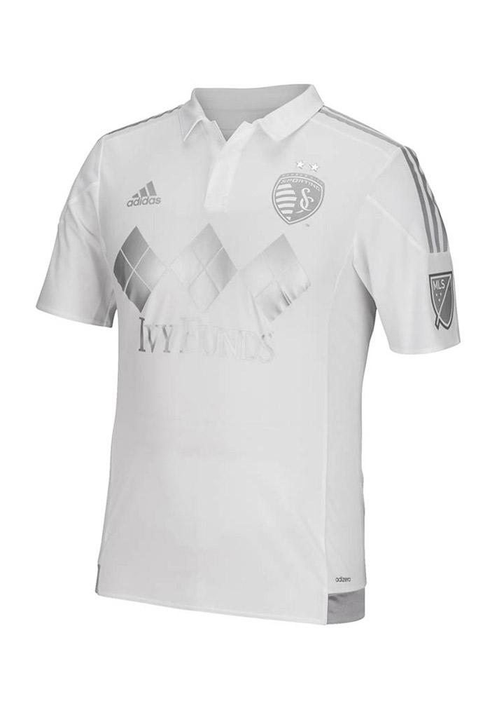 Sporting Kansas City Mens Adidas Authentic Soccer Authentic Third Jersey - White - Image 2