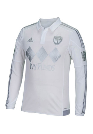 Adidas Sporting Kansas City Mens White Long Sleeve Authentic Third Soccer Jersey