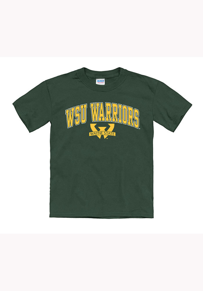 Wayne State Warriors Youth Green Arch Short Sleeve T-Shirt - Image 1