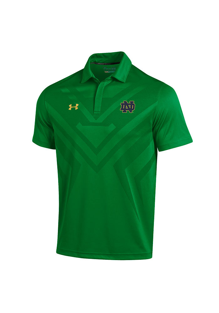 b81b71023 Under Armour Notre Dame Fighting Irish Mens Green Scout Polo Short Sleeve  Polo - Image 1