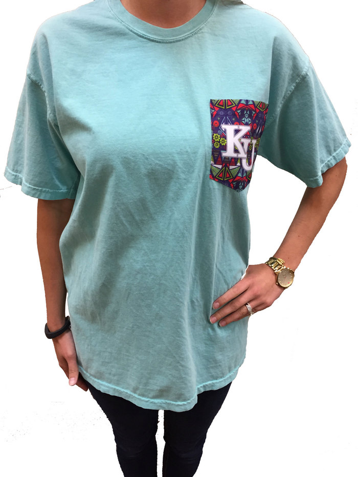Kansas Jayhawks Womens Green Comfort Colors Short Sleeve Unisex Tee - Image 1