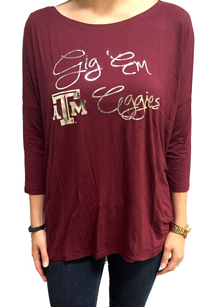 Texas A&M Aggies Womens Maroon Lucy Long Sleeve Women's Scoop - Image 1